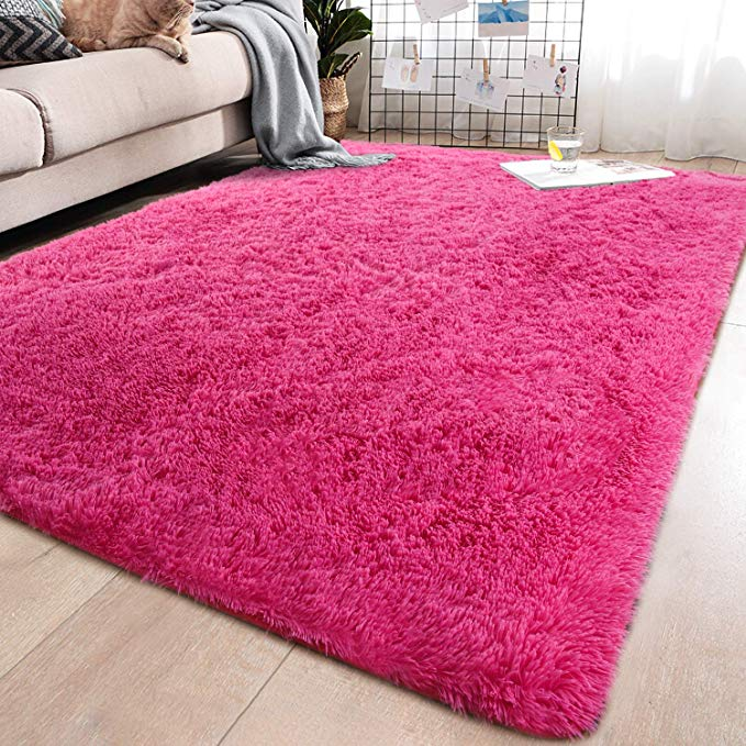 Amazon Com Yj Gwl Soft Hot Pink Shaggy Area Rugs For Girls Room Bedroom Non Slip Kids Carpet Baby Nursery Decor Fluffy Moder In 2020 Rugs In Living Room Rugs Pink Rug