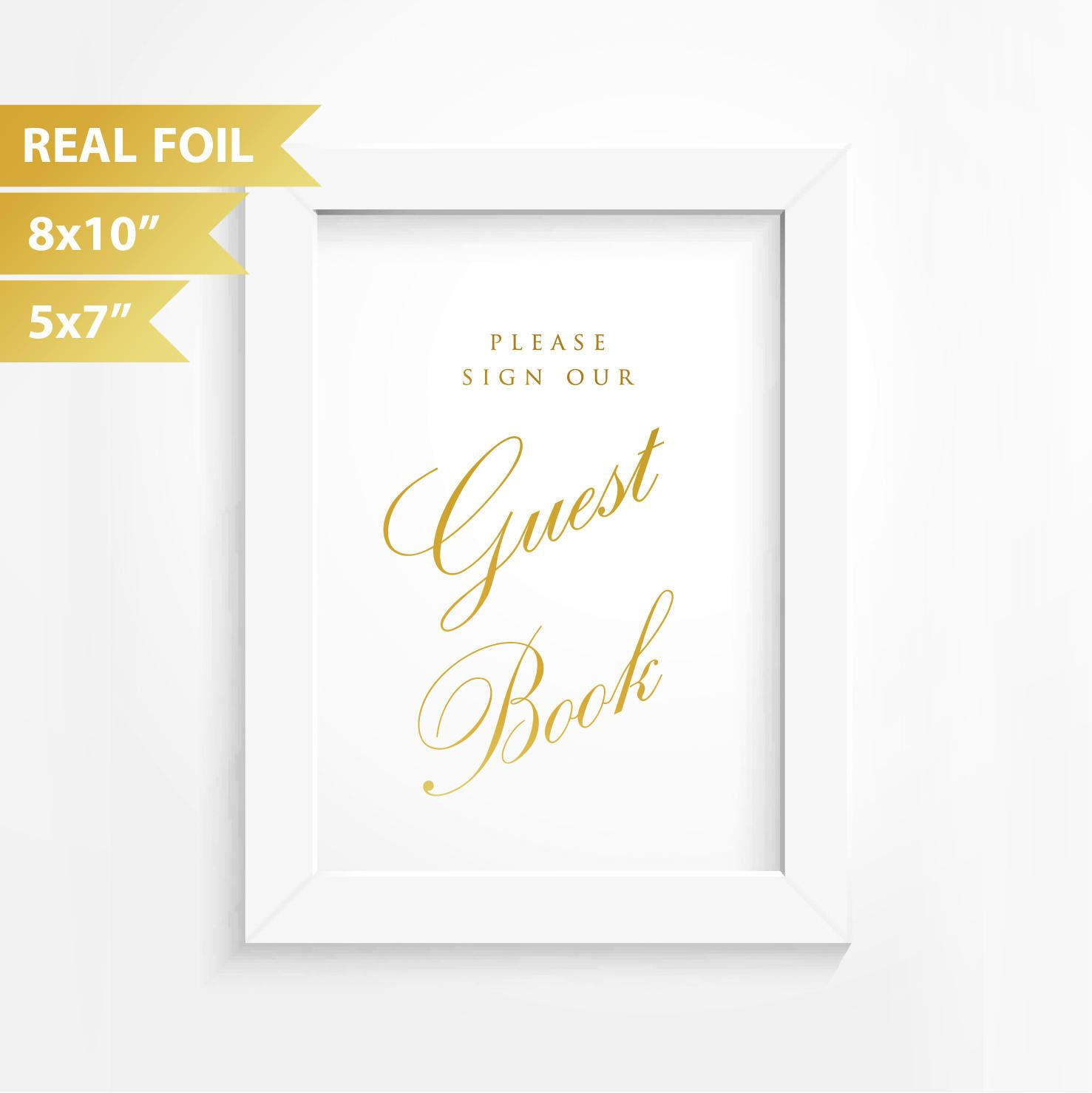 Gold Quote Guest Book Wedding Sign Real Gold Foil Wedding Sign Bridal Sign .