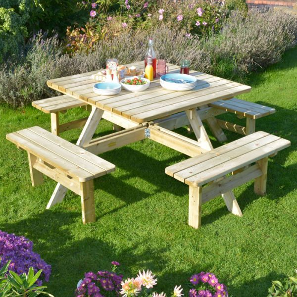 Fabulous Rowlinson Square Picnic Table Garden Furniture Wooden Ocoug Best Dining Table And Chair Ideas Images Ocougorg