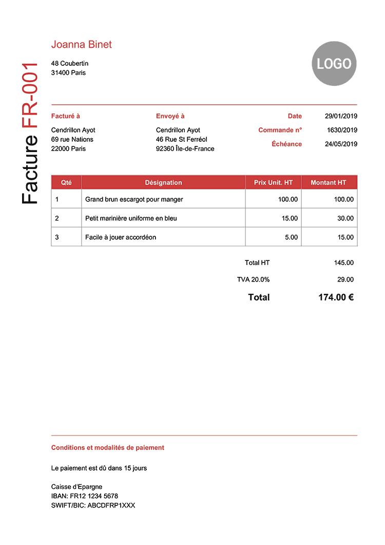 Modele Facture Fr Moderne Rouge | Exemple devis, Exemple ...
