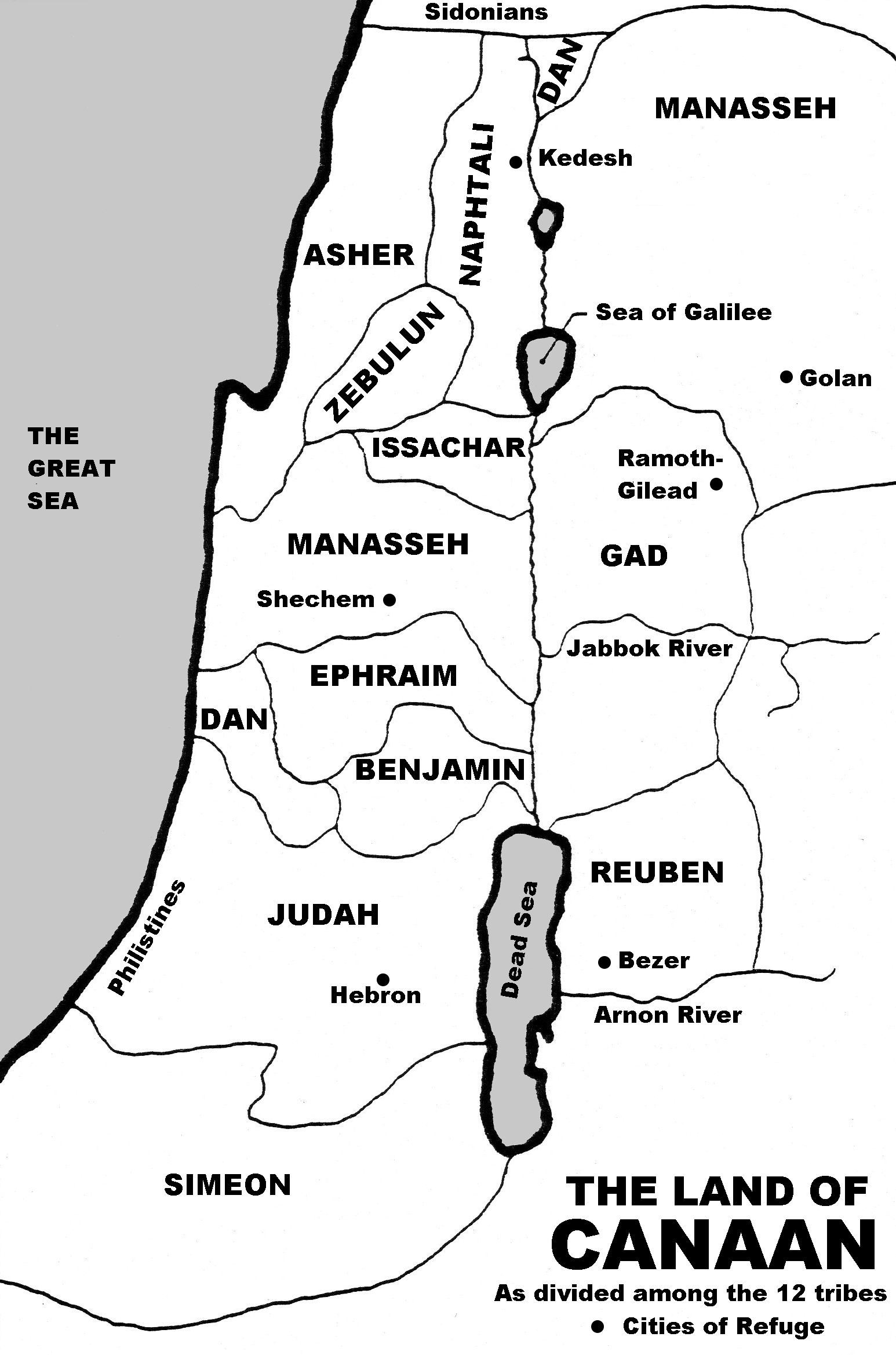 Map Of Canaan 12 Tribes