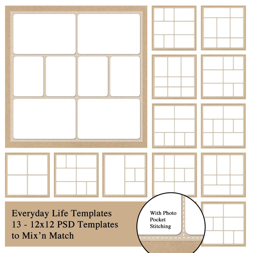 Everyday Life 12x12 Photobook Templates with stitching around each ...
