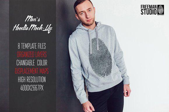 Download Men S Hoodie Mock Up Hoodies Men Printed Sweatshirts Long Sleeve Tshirt Men
