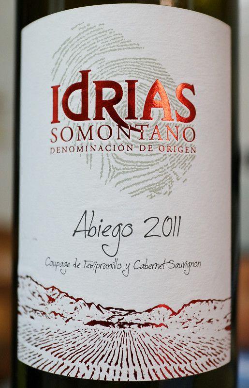 Idrias Abiego 2011. Tempranillo y Cabernet Sauvignon. Tinto. Somontano.