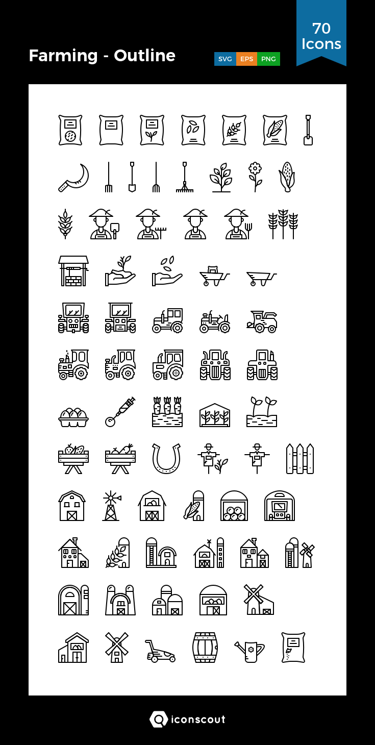 Farming Outline Icon Pack 70 Line Icons Line Icon Icon Outline