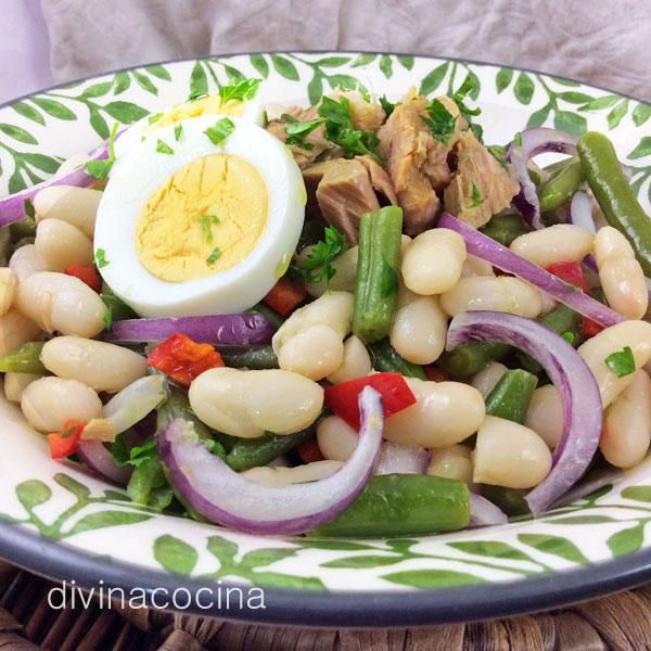 Ensalada de alubias y judias verdes entrantes ensalada de alubias ensalada de judias verdes - Ensalada fria de judias blancas ...
