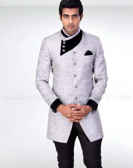 Mens Jodhpuri White Wedding Designer Badhgala Statusindiafashion