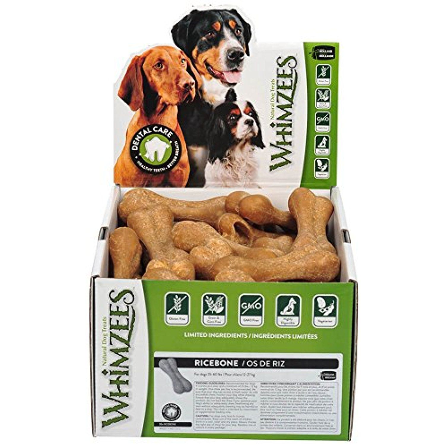 Paragon 154111 50 Count Box Whimzees Rice Bone Dental Treat For