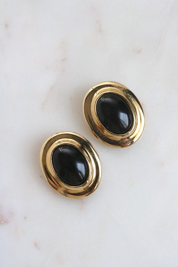 Vintage Lci Black And Gold Earrings Oval Clip On