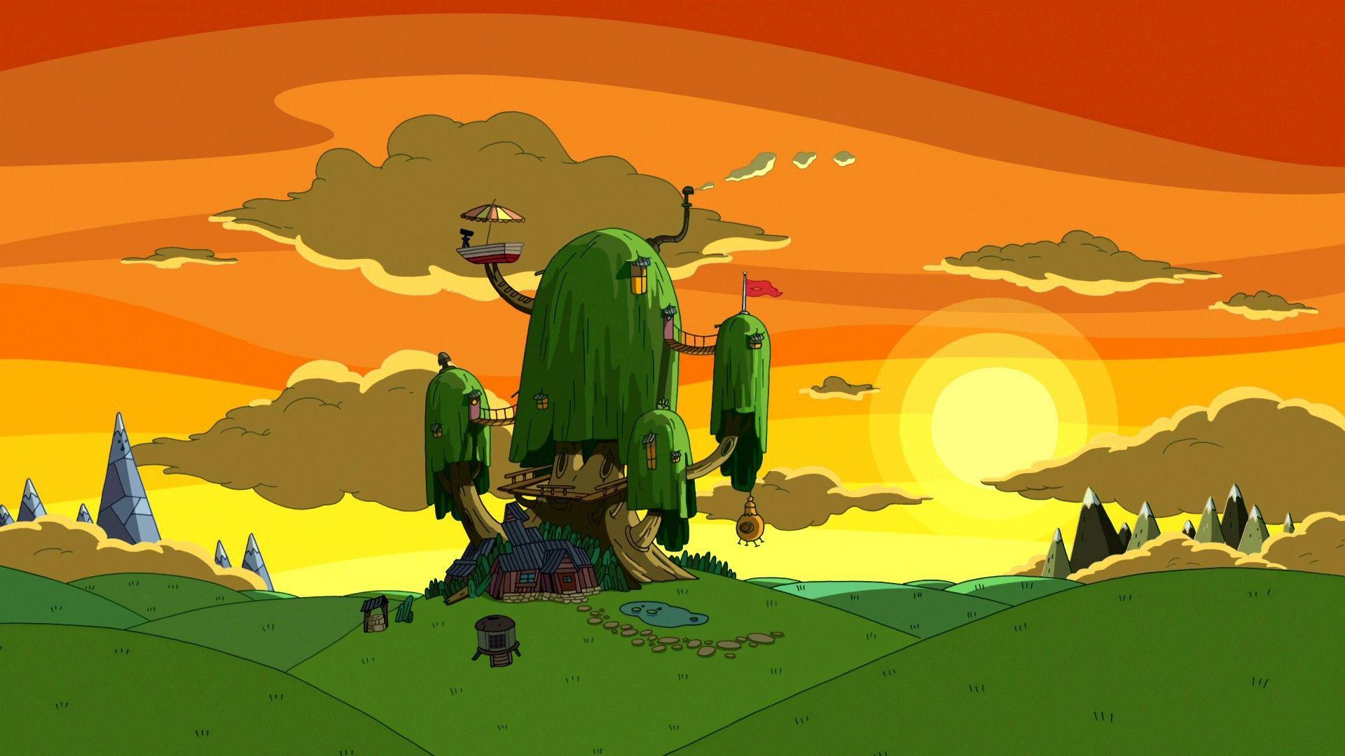 Cartoon Network Sunset Nature Houses Adventure Time 1920x1080