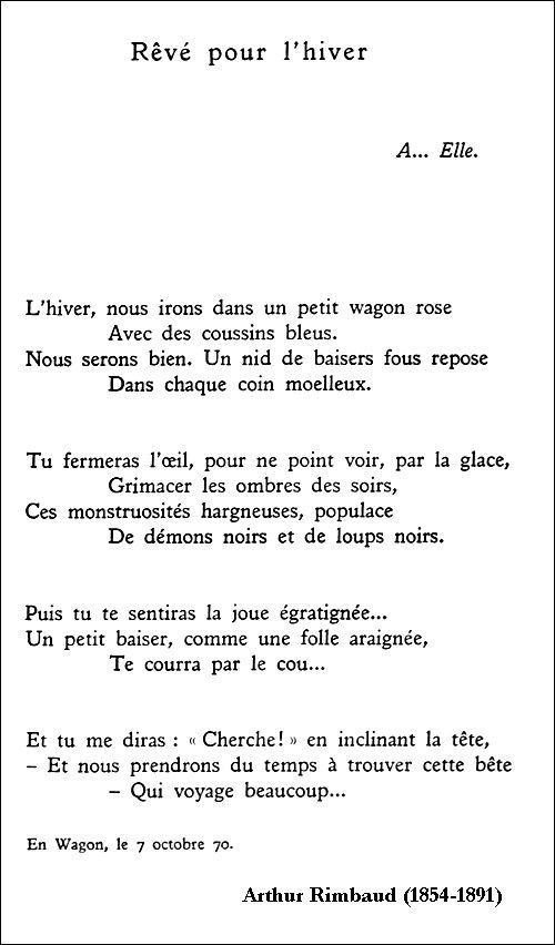 Arthur Rimbaud Rêvé Pour Lhiver Rimbaud Poeme Poeme Et