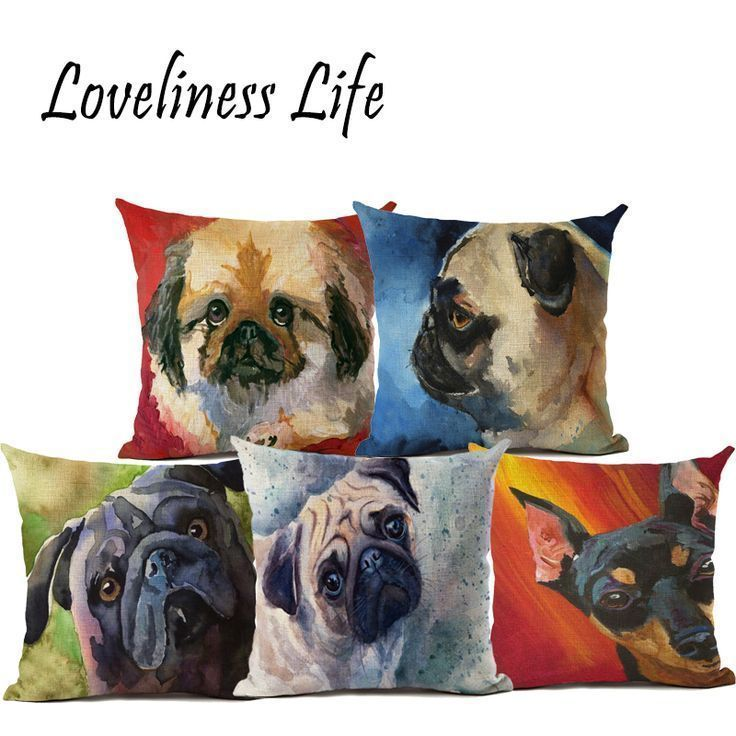 Original Oil Painting Pig Dog Linen Pillow Cushion Cover Home Car Couch Decorati : Original