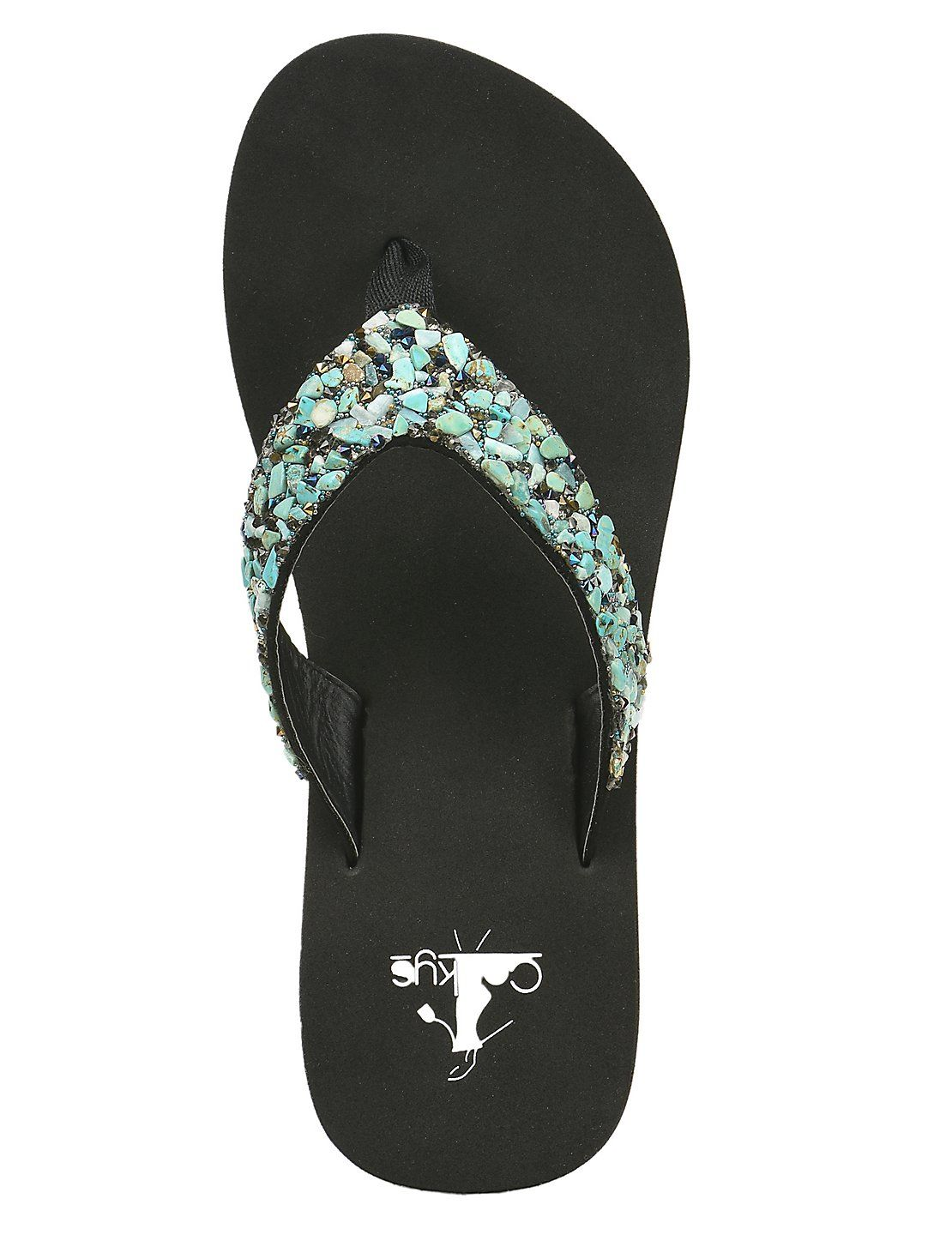ea094b635daacd Corky s Women s Black with Turquoise Stone Embellished Straps Fashion Flip  Flops