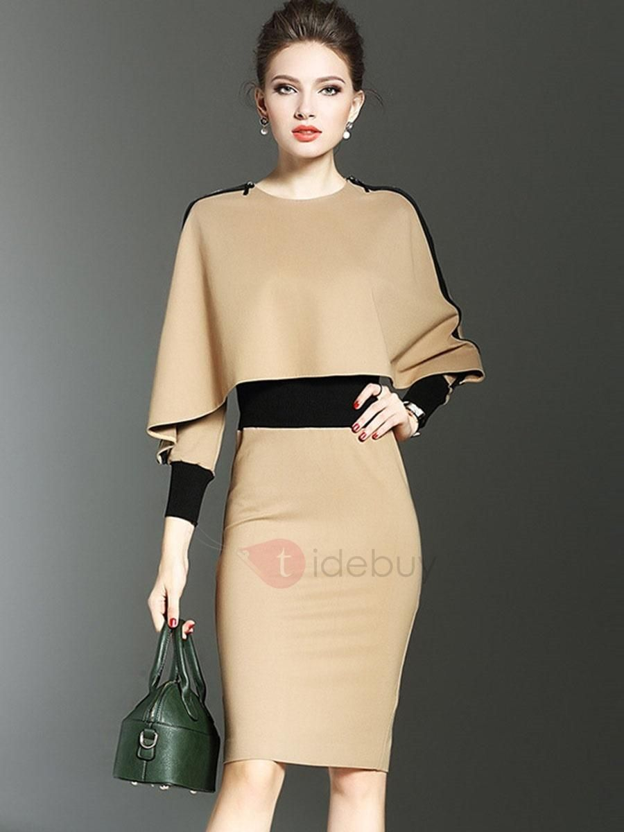 Tidebuy tidebuy khaki long round neck bodycon dress adorewe