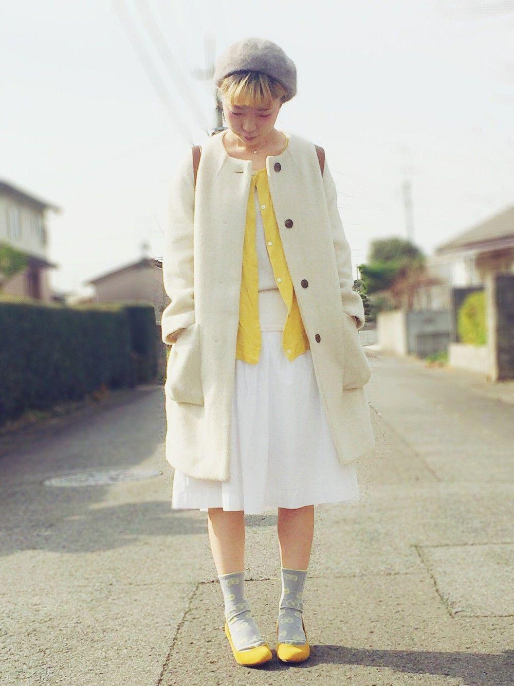 a8子さんのノーカラージャケット「studio CLIP 【studio CLIP】 スラブヘリンボンツイードクルーネックコート」を使ったコーディネート