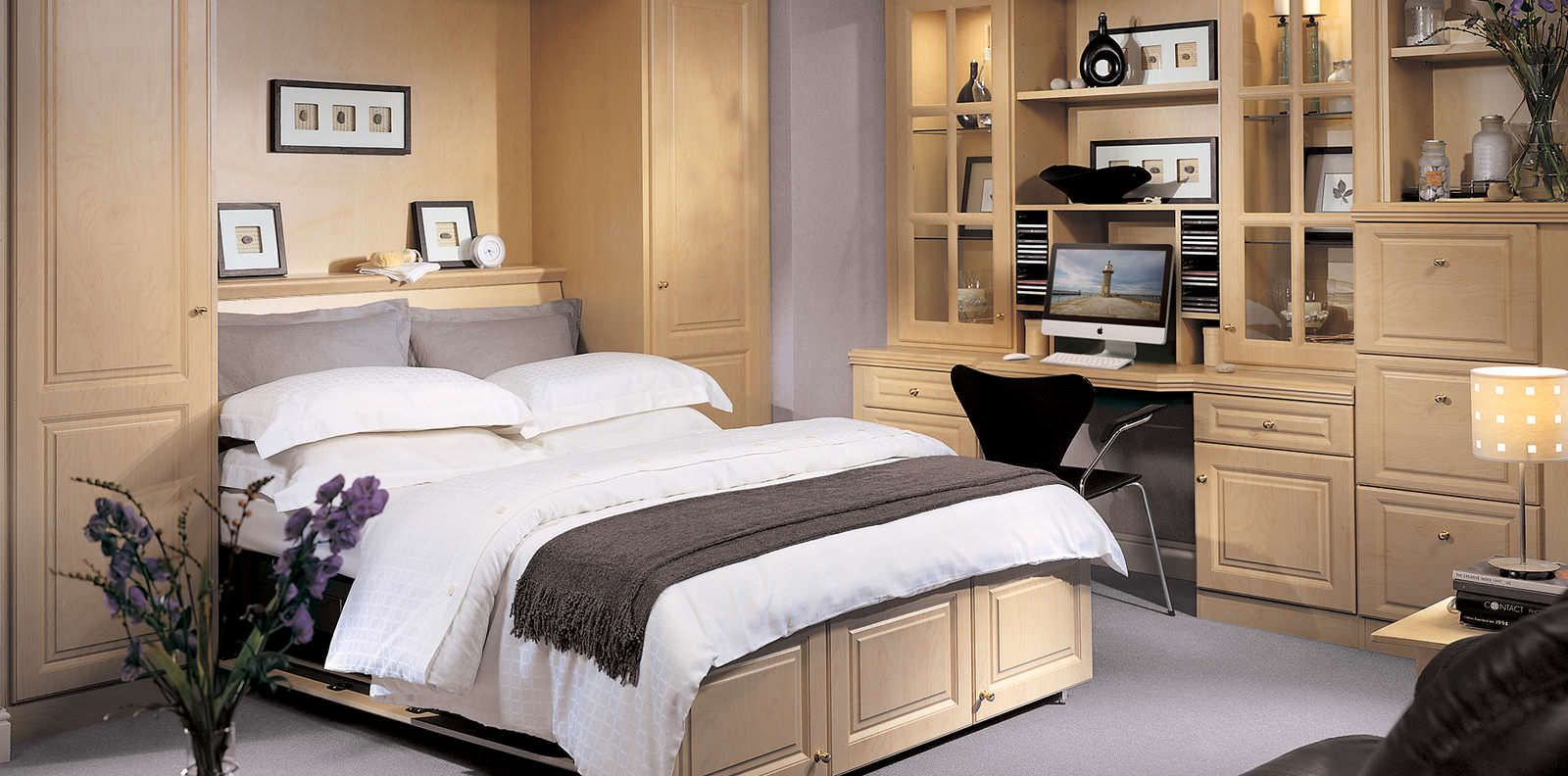Fitted Hidden Bed Storage in Bedroom with Maple Wood