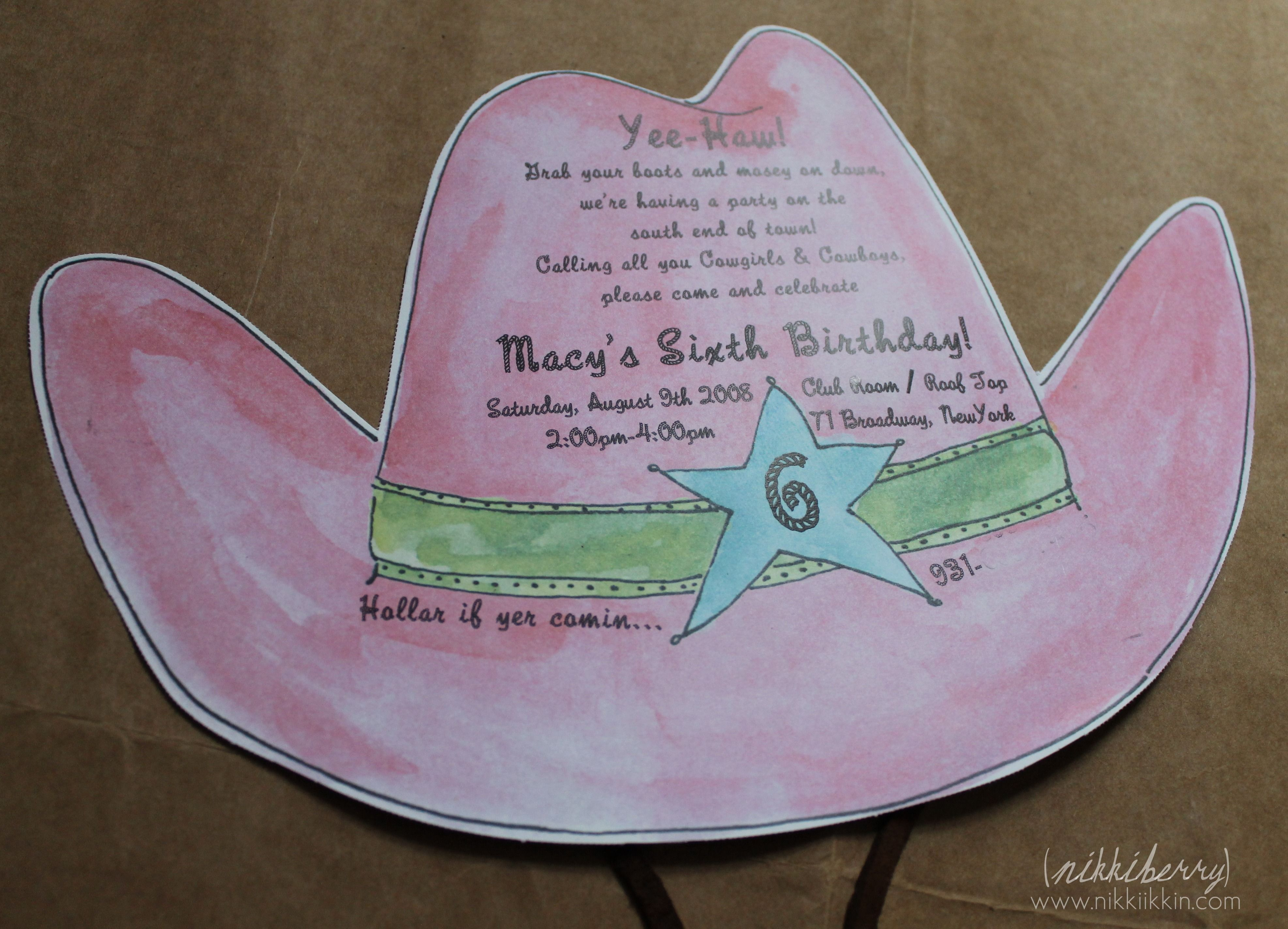 cowgirl hat invitation | party time! | Pinterest | Cowgirl hats ...