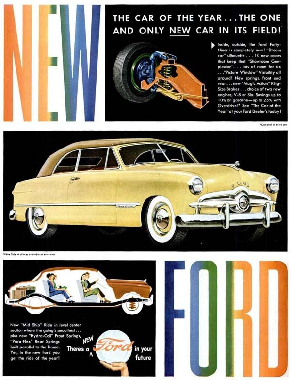 Vintage Advertisements For The 1949 Ford Automobile Advertising Vintage Advertisements Ford