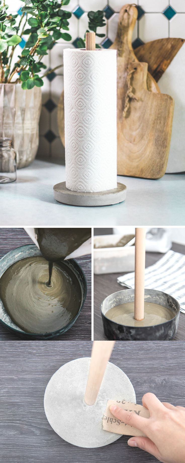 Photo of Make DIY kitchen roll holder from concrete yourself! manual