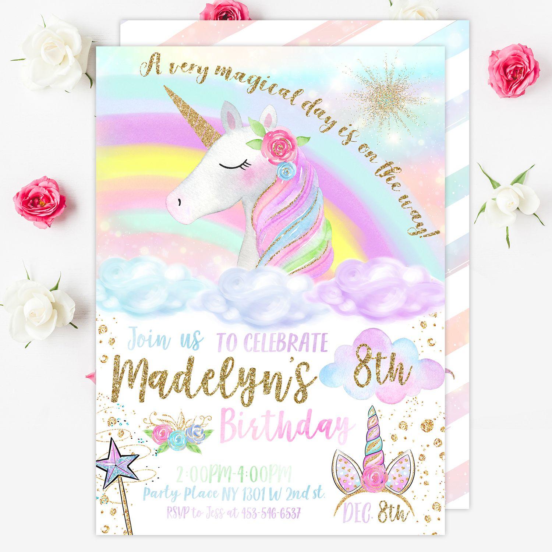 Rainbow Unicorn Invitation Unicorn Birthday Invitation Unicorn