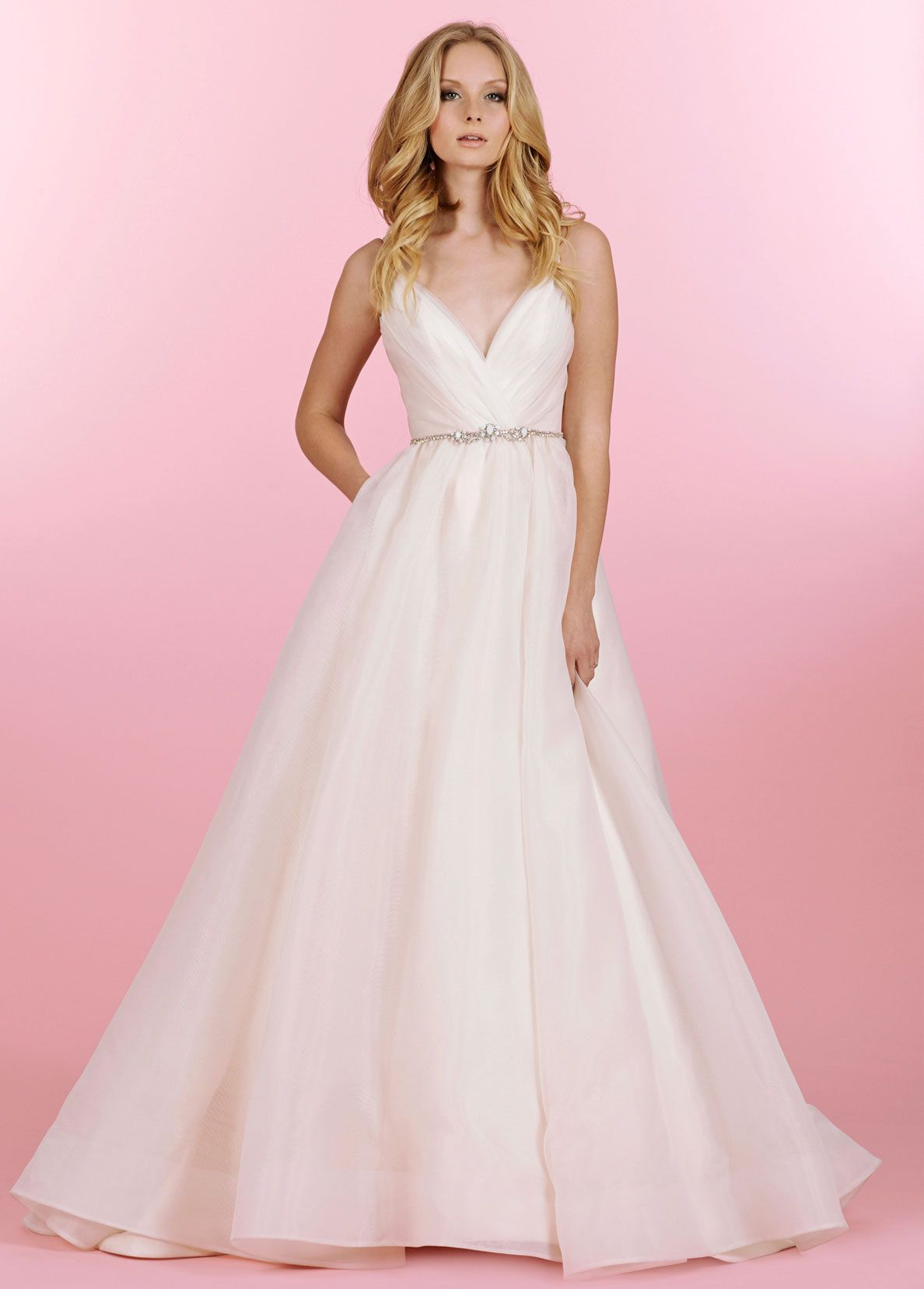 Opal Blush and Ivory organza bridal ball gown with two-tone pleated ...