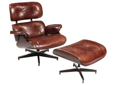Hand Finished Vintage Leather Chair And Ottoman With A Steel Swivel Base  And Button Detail.