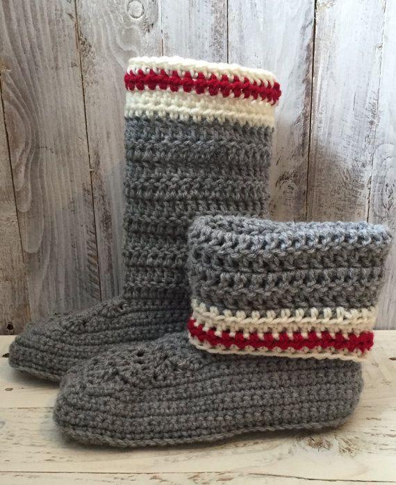 Work sock slipper boots crochet slippers by EndlessCrochetCreat ...