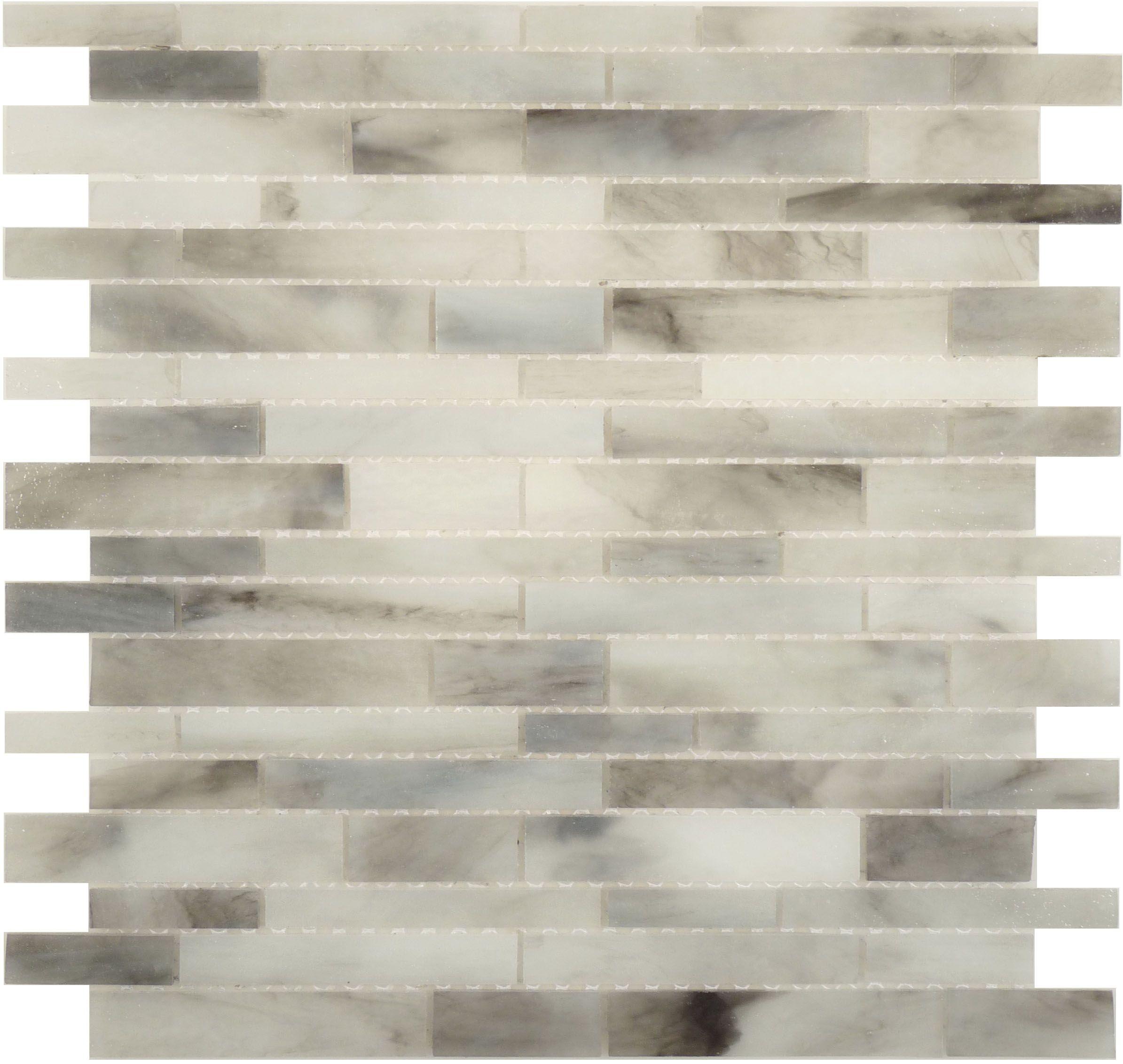 Botanical Glass Murano Vena Glass Mosaic Random Bricks Light Gray Glossy Grey