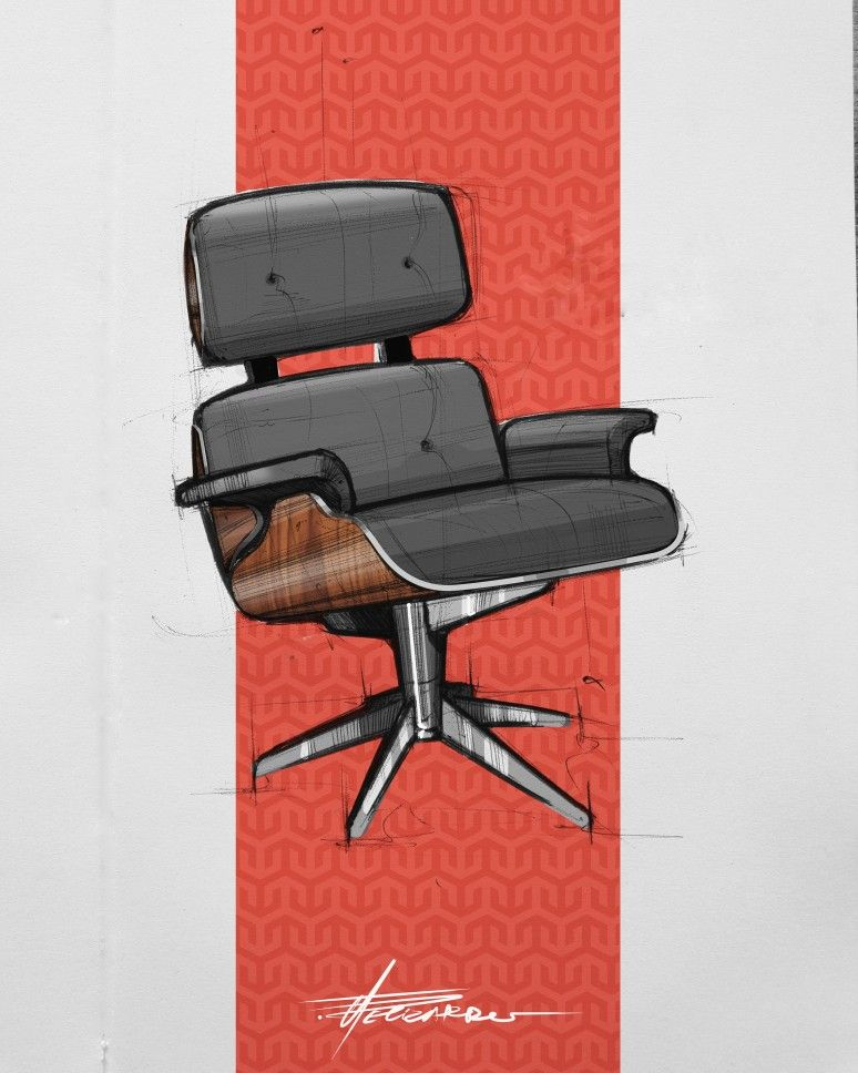 Eames Lounge Chair Photoshop Simple Render