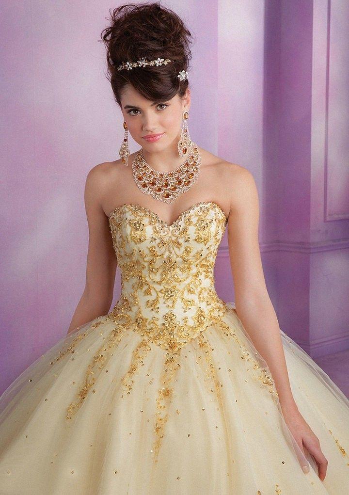 Vestido De 15 Blanco Y Dorado Gold Vestidos De Quinceañera