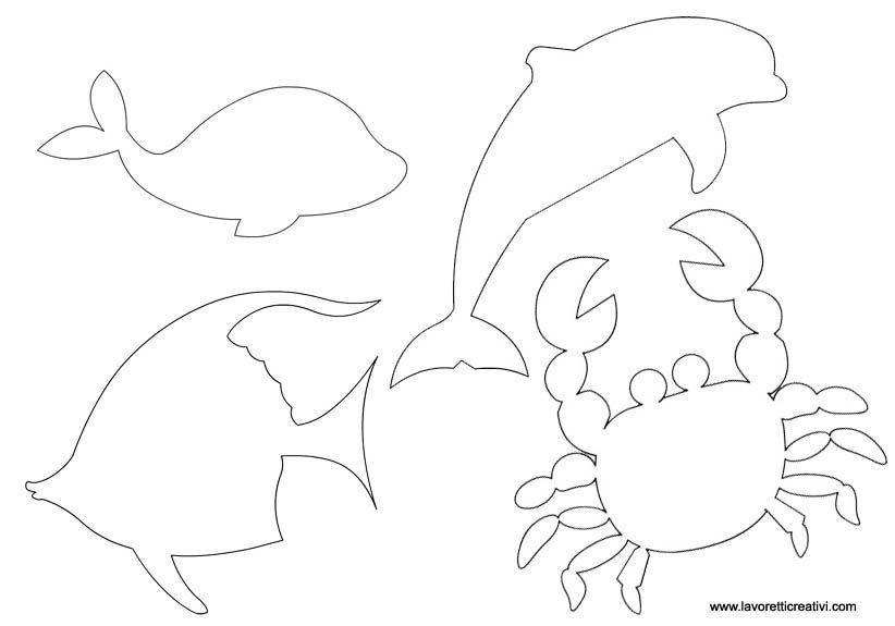 Sagome di animali marini carta modello pinterest for Disegni pesci da ritagliare