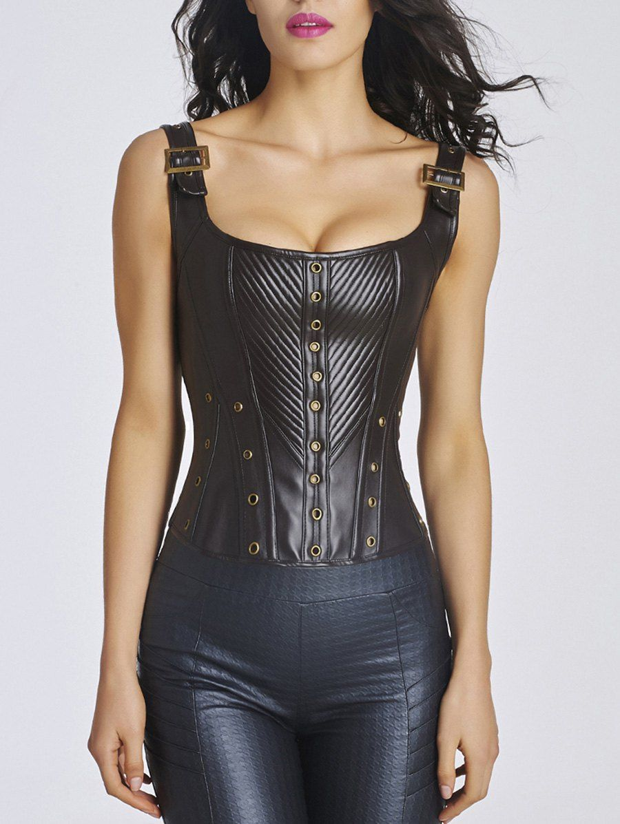 deafb2ca553 Lace-Up Steel Boned Faux Leather Corset Top - CHOCOLATE 2XL ...