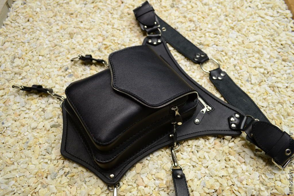 de92b22c9349 Items similar to Functional and handy hip bag made of black real leather,  bag on the belt on Etsy