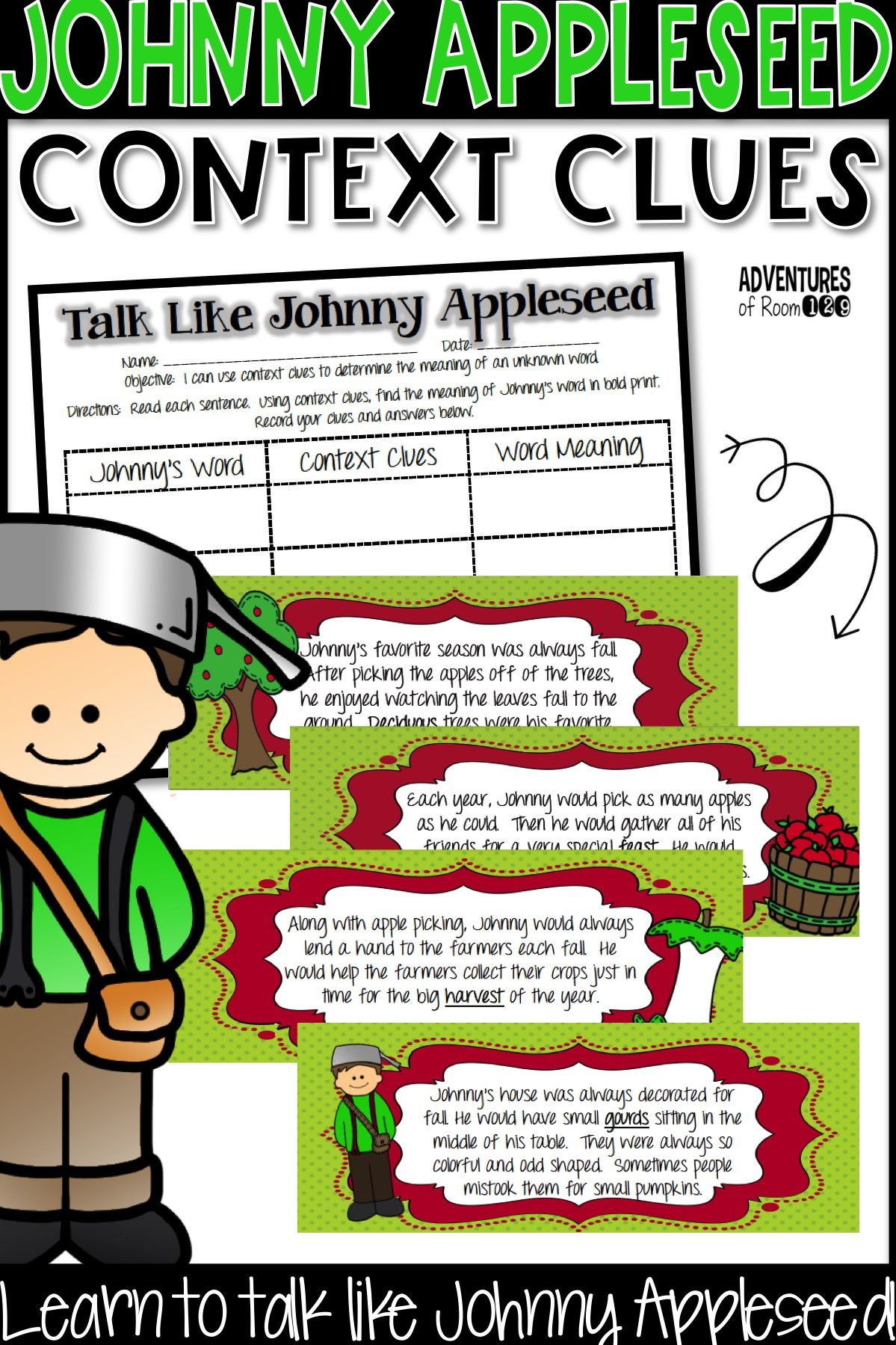 Fall Context Clue Activity Johnny Appleseed