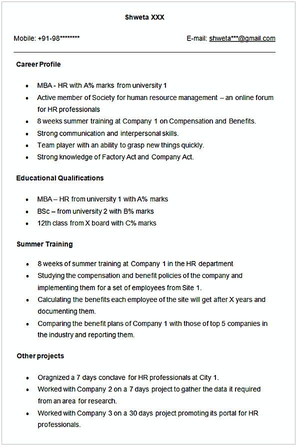 Sample Resume For Hr Fresher Hr Manager Resume Sample This Hr Manager Resume Sample Article Below Is Worth To Read By Y Manager Resume Hr Management Resume
