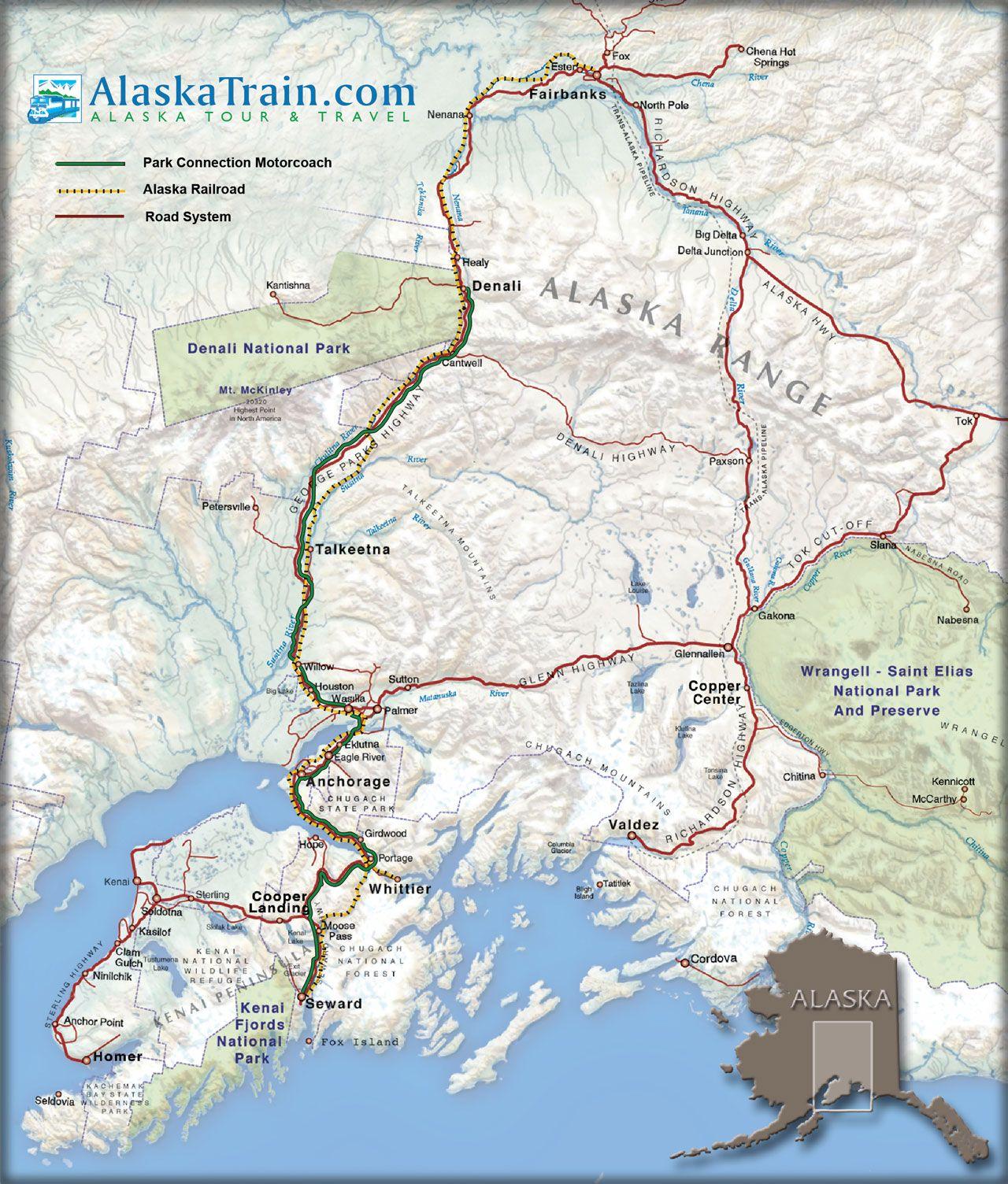 Alaska Train Map   Alaska   Pinterest   Alaska train, Train map and ...