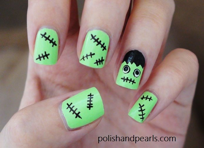 4 easy halloween nail art ideas frankenstein easy halloween 4 easy halloween nail art ideas prinsesfo Image collections