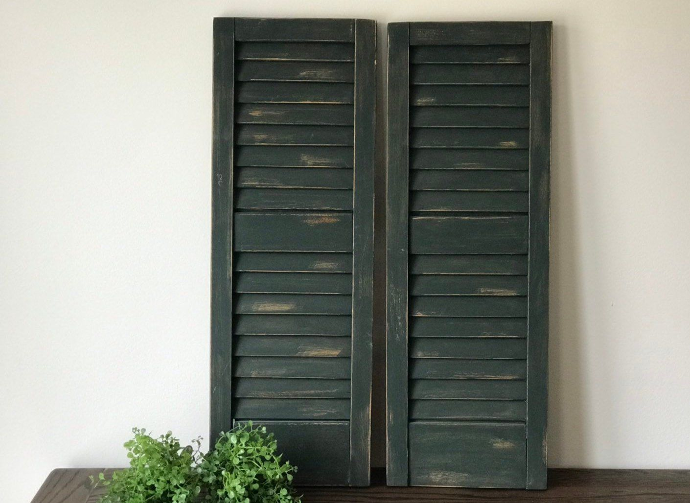 Pair Of Wood Shutters Shutter Wall Decor Farmhouse Sign Wood Black Painted Shabby Chic French Cou Shutter Wall Decor Wood Shutters French Country House