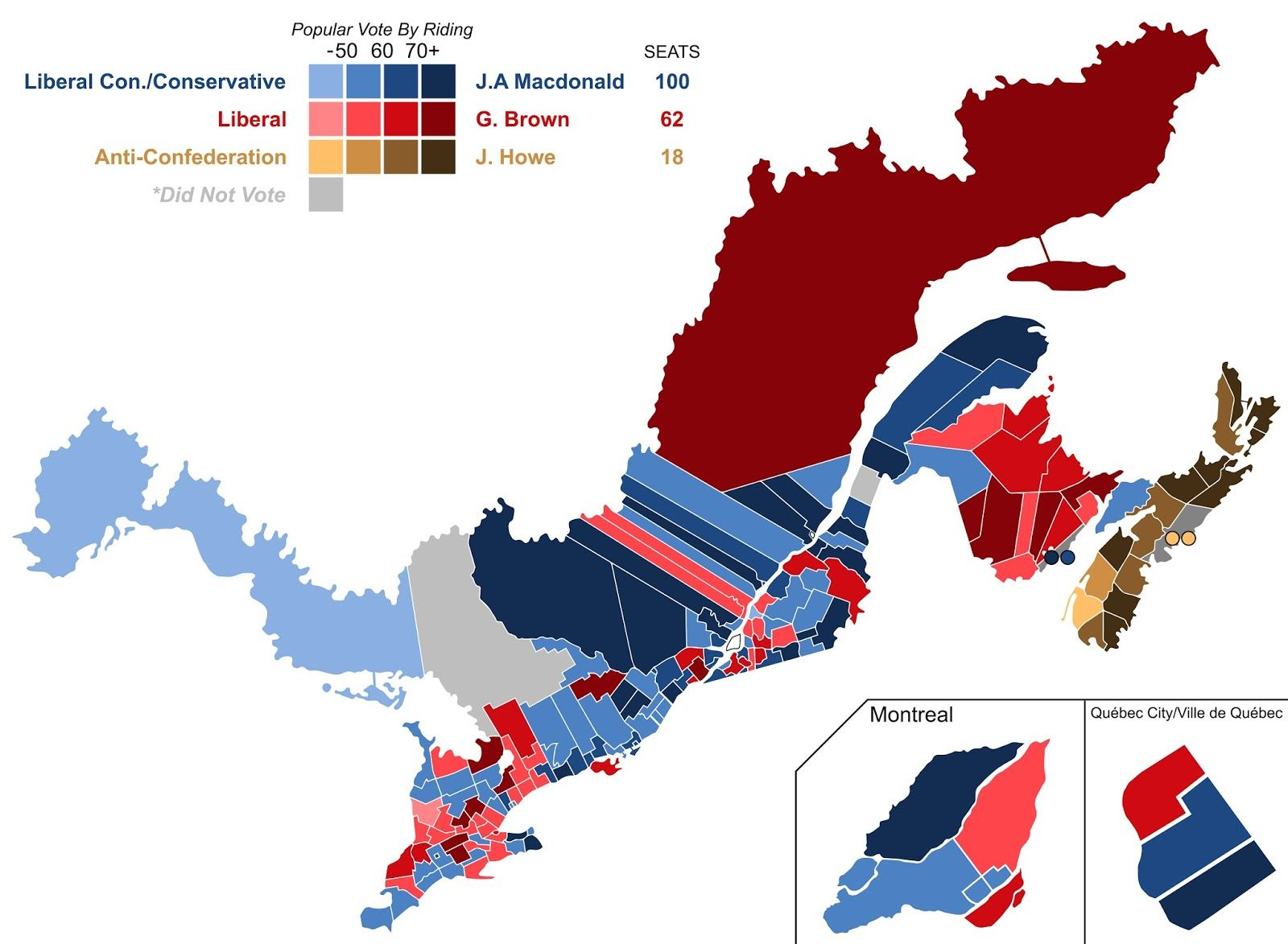A map of Canadas first ever election 1867 Canada Pinterest