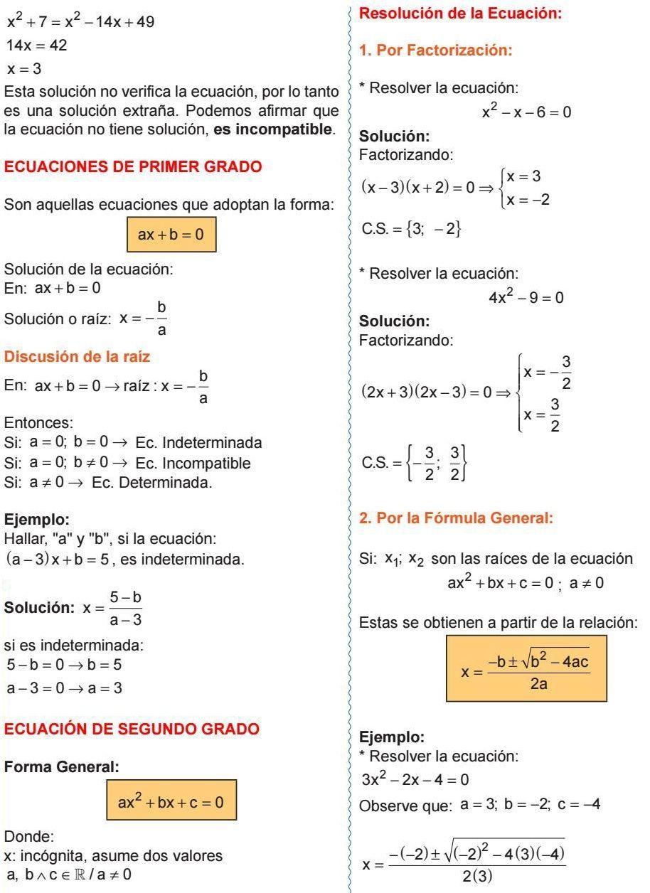 Ecuaciones De Primer Grado Discusión De La Raíz Ecuación De Segundo Grado Resolución De La Ecuación Factorización Fórmula General Algebra Math Physics