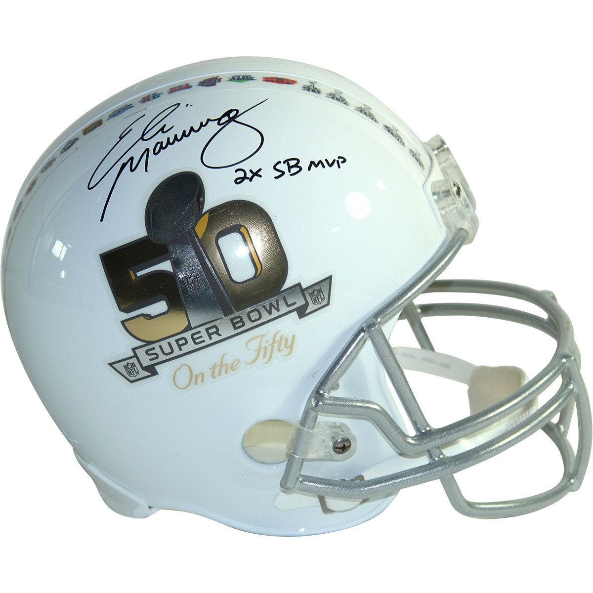 ELI MANNING Signed Riddell Super Bowl 50  On the Fifty  Commemorative  Deluxe… 1ddff5c1c