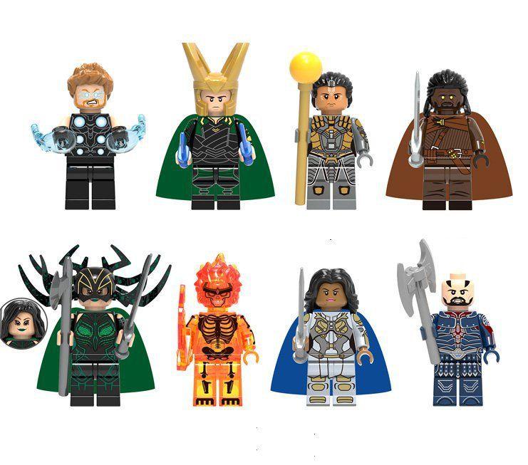 Set Marvel Minifigures Avengers Star Wars Ninja Anime Thor Hulk Godzilla Blocks