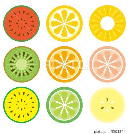 輪切りのフルーツ 9種類のイラスト素材 By キョウコ イラスト