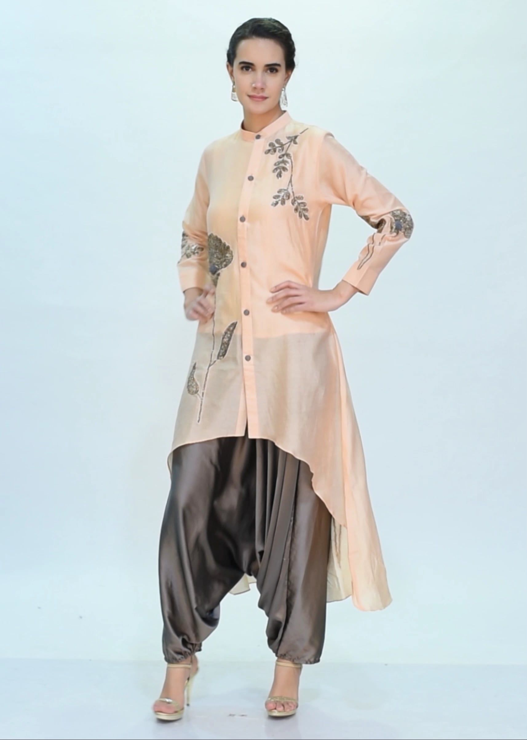 ee43726c8c1 Peach front short back long top with graphite grey dhoti pant only on Kalki