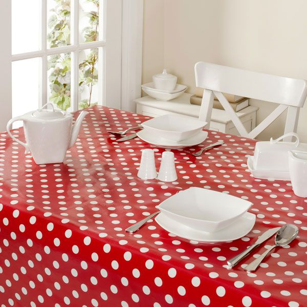 Red Kitchen Table: Red And White Spotty PVC Table Cloth From Dunelm Mill