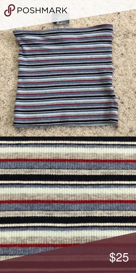 f2a9ab41c78 Brandy Melville Jenny Tube Top NWT One size Ribbed Striped grey blue light  blue and red Brandy Melville Tops Crop Tops