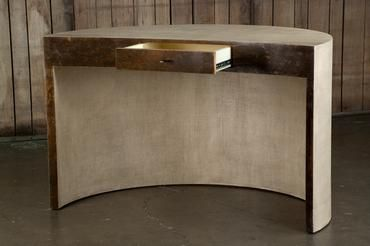 Crescent Shaped Desk Wrapped In Grasscloth With Copper Clad Grasscloth Home Organization Crescent Shape