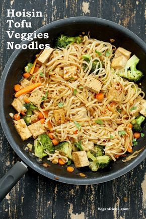 Tofu And Brown Rice Noodles In Hoisin Sauce Recipe Vegetarian Recipes Tofu Vegan Hoisin Sauce Recipe