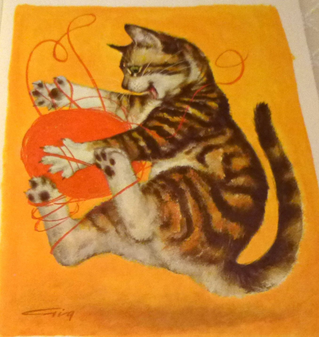 Vintage Striped Tabby Cat Fireball Paper Print By Gig 5x7 Image Orange Tabby Cat Cat Expressions Cats