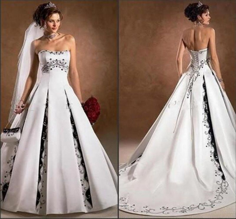 Black and White Wedding Dresses 2018 Newest Strapless With Appliqued A Line